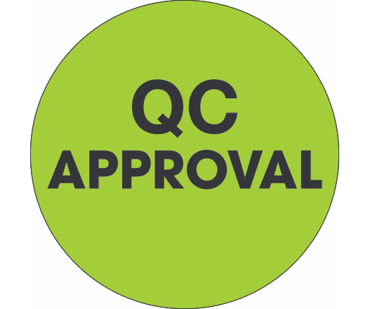 "Label, 2"" Diameter, ""QC Approval"", Circular,"