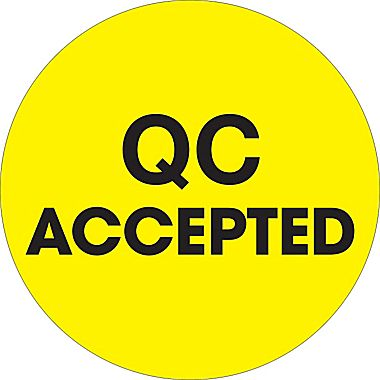 "2"" Circle ""QC Accepted"" label, fluorecent yellow"