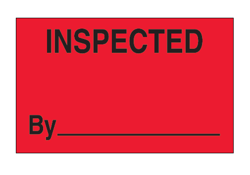 "Label, Inspected by, red 1-1/4""x2"", 500/roll"