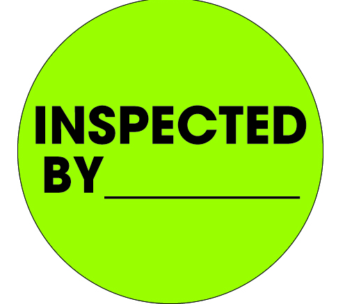 "2"" Circle ""inspected by"" label, fluorescent green"