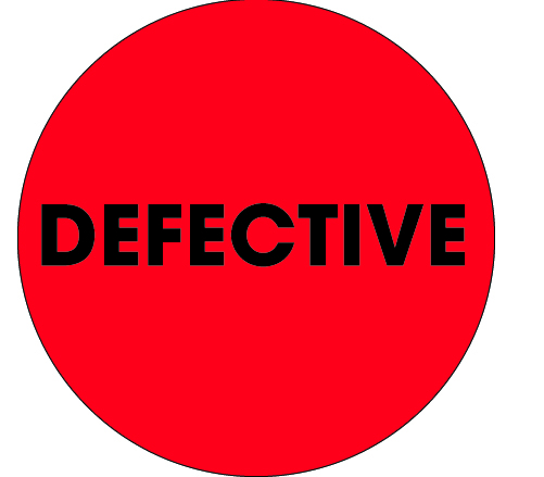 "Label, ""Defective"", 2"" flourescent red/black circle,"