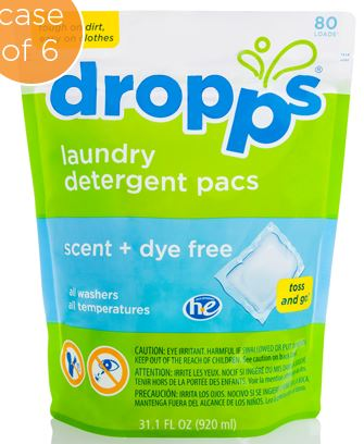 Detergent Laundry, Dropps, Scent & Dye Free, Pacs,