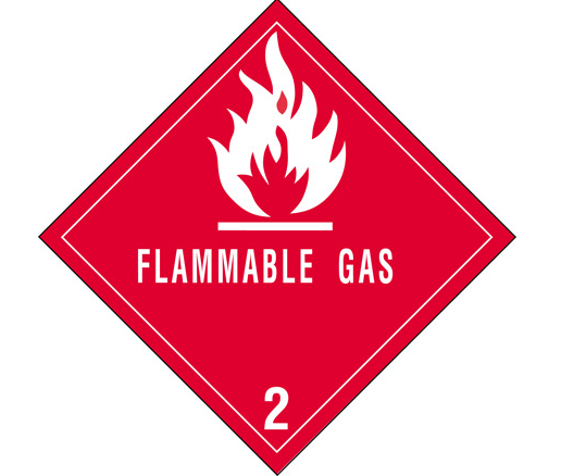 Label, Flammable Gas, DOT, 4x4, 500/roll