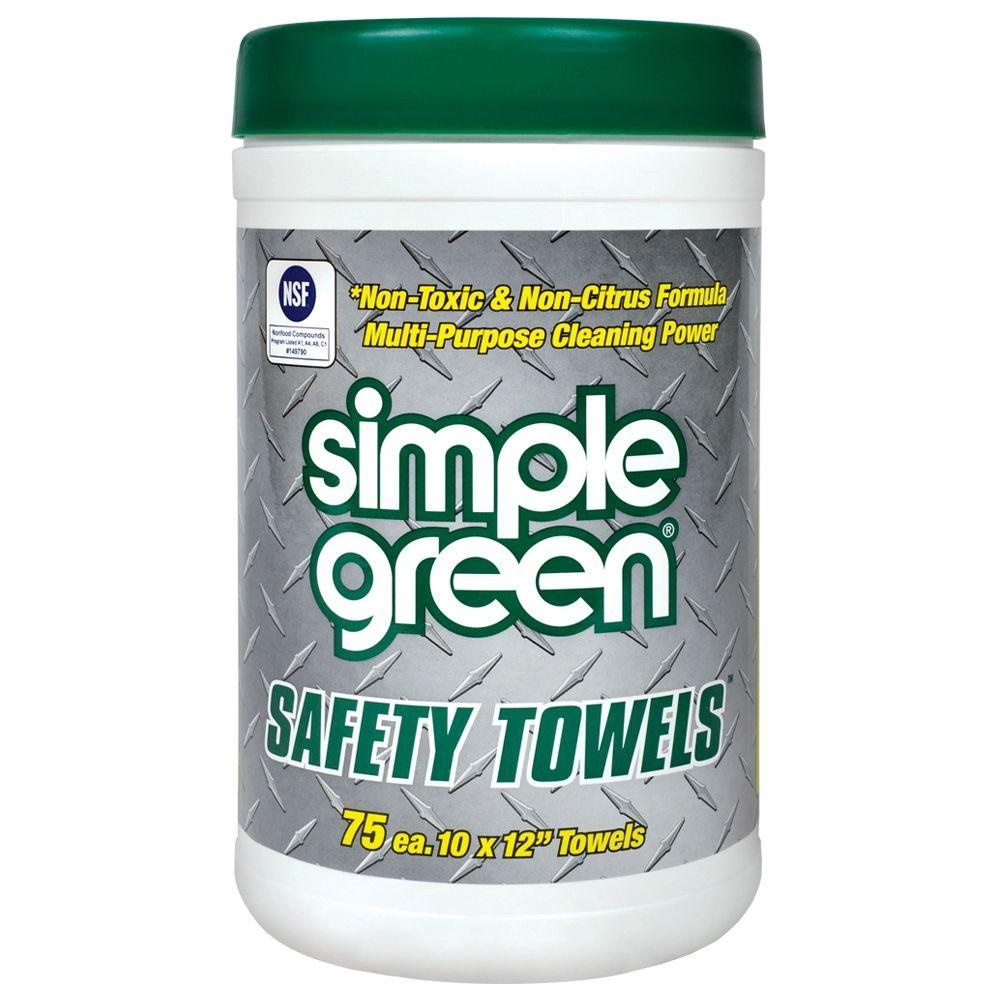 Simple Green Safety Towels, 10x11-3/4, 75 Per Canister, 6