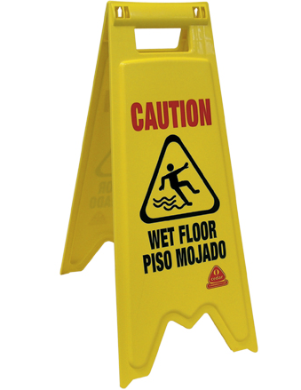 "Floor Sign, ""Caution-Wet Floor"" Yellow,"